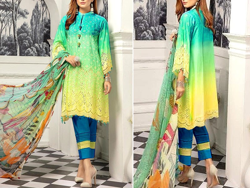 Luxury Schiffli Embroidered Linen Dress 2020 with Wool Shawl Price in Pakistan