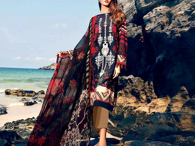 Embroidered Twill Linen Dress with Wool Shawl Dupatta Price in Pakistan