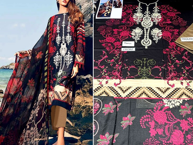 Heavy Embroidered Twill Linen Dress with Wool Shawl Dupatta