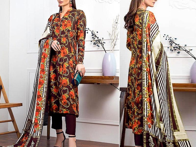 Embroidered Linen Dress with Linen Dupatta Price in Pakistan