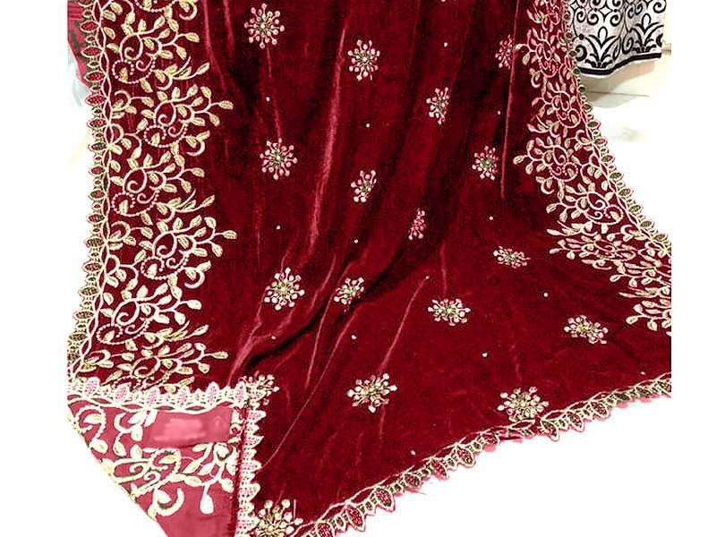Heavy Embroidered Cutwork Maroon Bridal Velvet Shawl