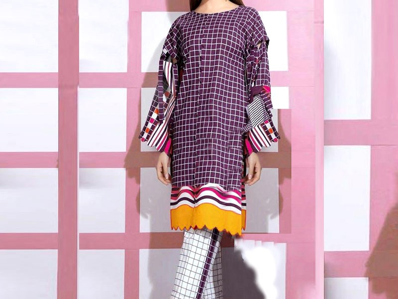 SALE: 2-Pcs Embroidered Marina Dress with Embroidered Trouser