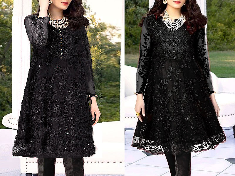 Heavy Embroidered Black Net Kurti with Inner