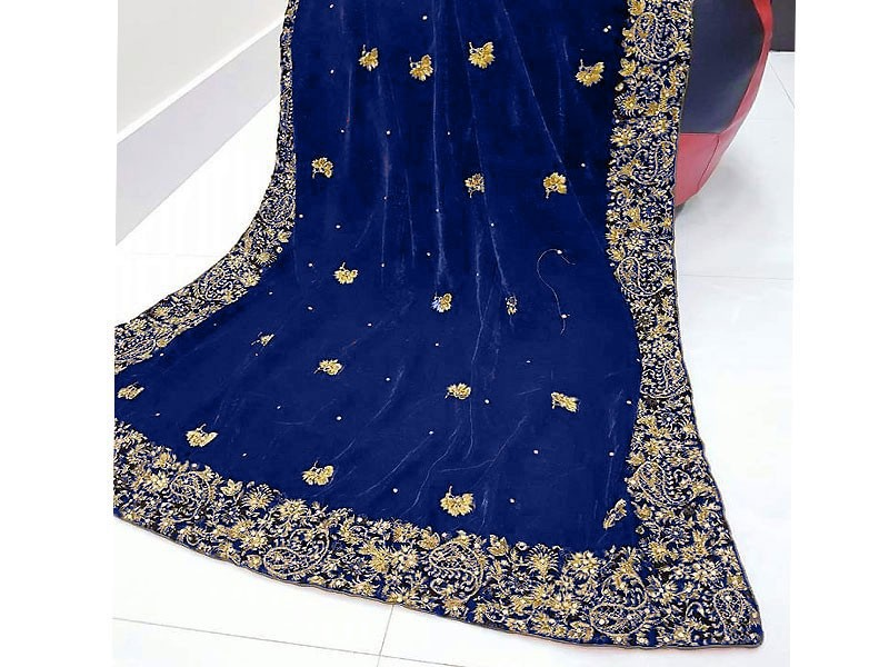 Elegant Embroidered Navy Blue Bridal Velvet Shawl