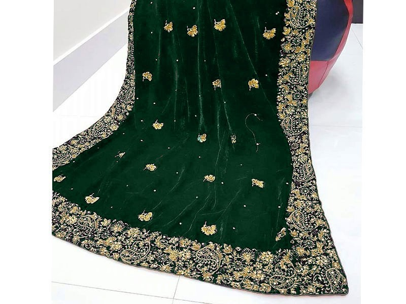 Elegant Embroidered Green Bridal Velvet Shawl