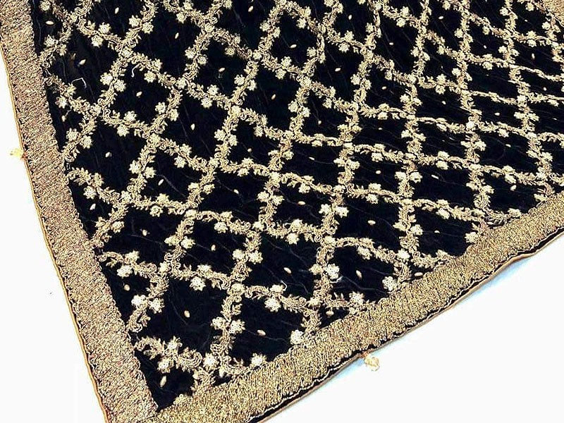 Luxury Heavy Embroidered Bridal Velvet Shawl - Black