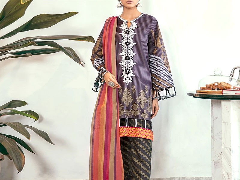 Embroidered Linen Dress with Wool Shawl