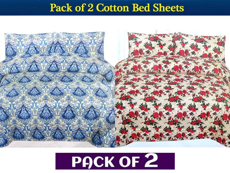 Pack of 2 King Size Crystal Cotton Bed Sheets