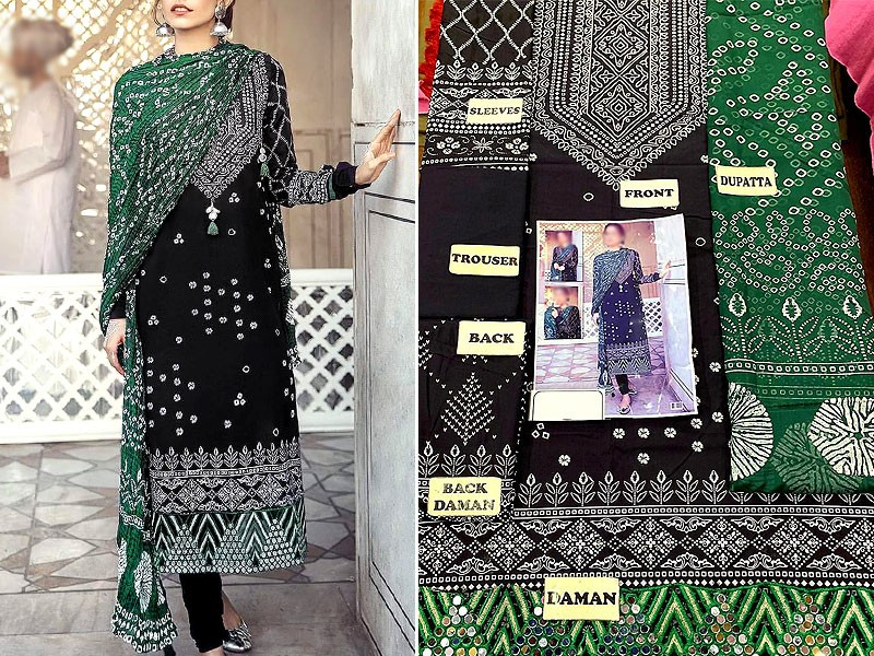 Embroidered Cotton Dress with Silk Dupatta