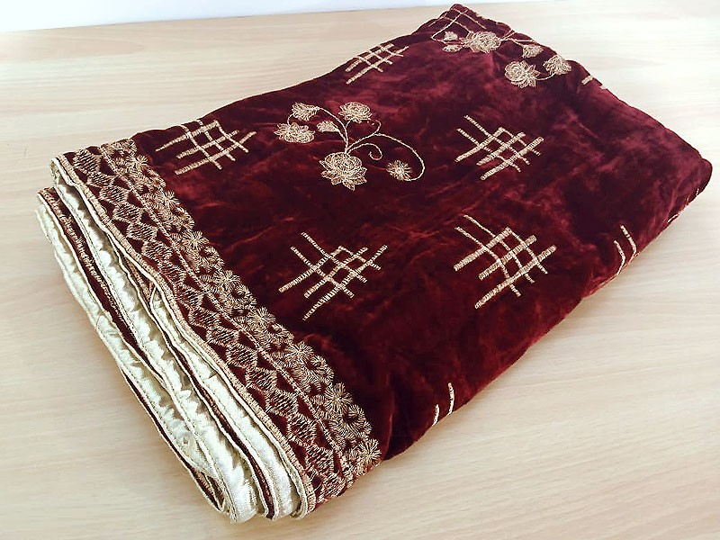 Heavy Embroidered Velvet Shawl - Maroon