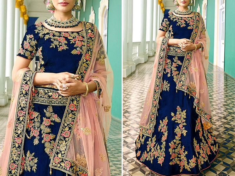 Indian Heavy Embroidered Chiffon Maxi Dress