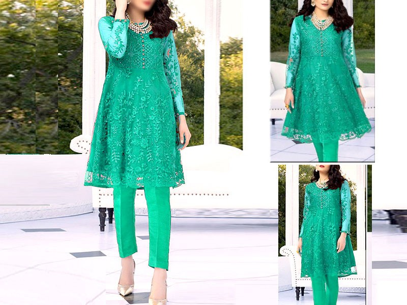 Heavy Embroidered Sea Green Net Kurti with Inner
