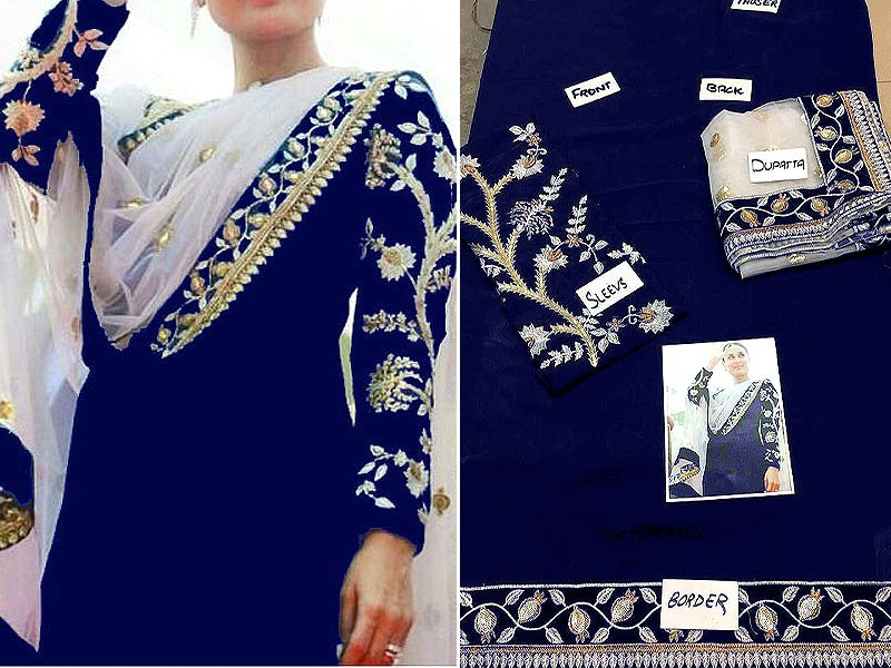 Embroidered Navy Blue Chiffon Dress with Net Dupatta