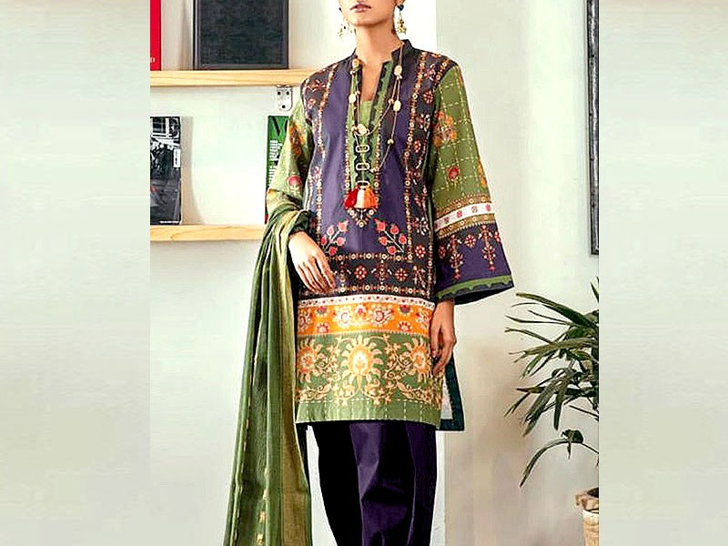 2-Pcs Ready Made Embroidered Boski Linen Dress - Purple Price in Pakistan