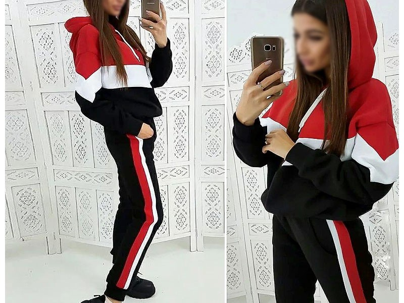 Women's Cross Panel Track Suit - Red Price in Pakistan