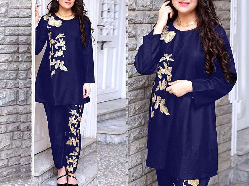 2-Pcs Ready Made Embroidered Boski Linen Dress - Blue Price in Pakistan