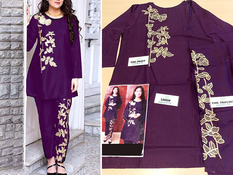 2-Pcs Ready Made Embroidered Boski Linen Dress - Purple
