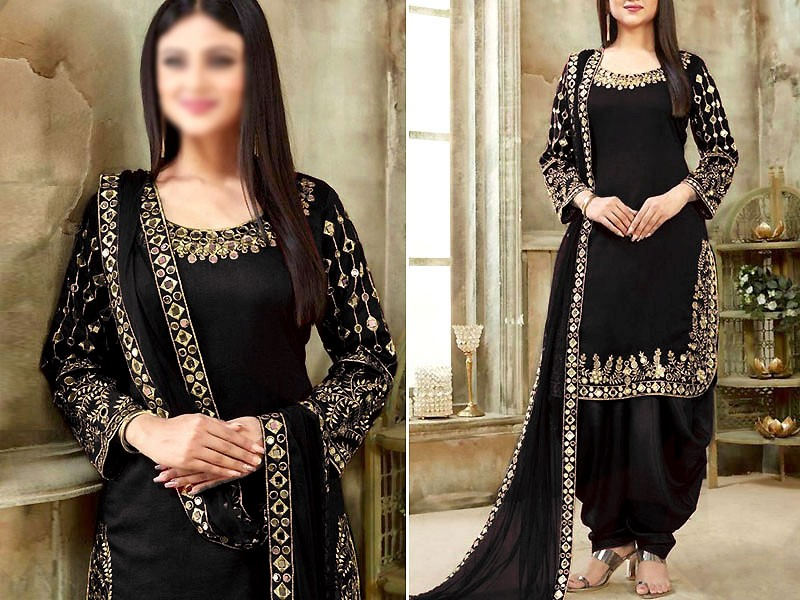 Indian Mirror Work Embroidered Black Chiffon Dress Price in Pakistan
