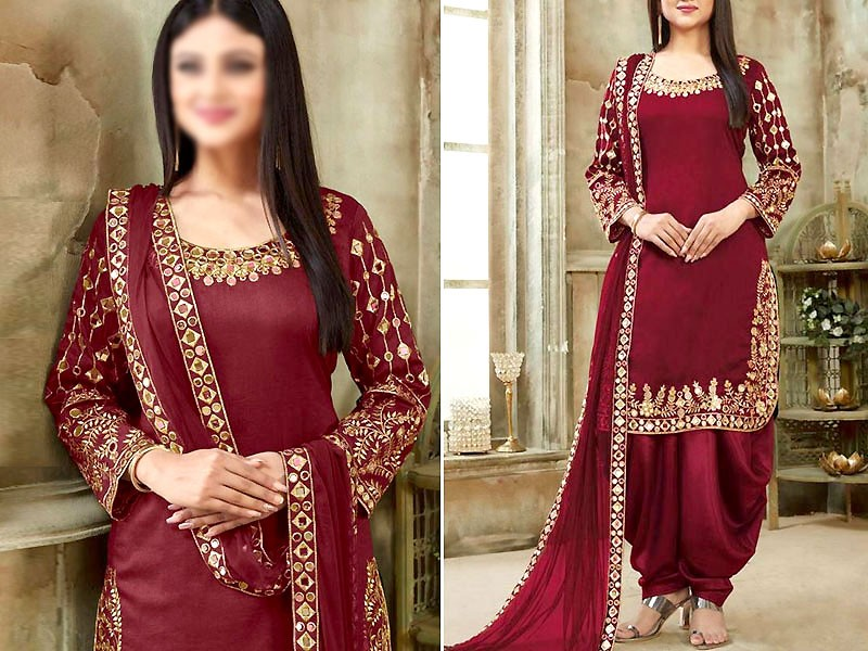 Indian Mirror Work Embroidered Maroon Chiffon Dress Price in Pakistan