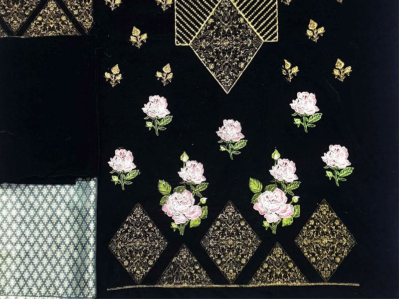Heavy Embroidered 2-Pieces Velvet Dress with Jamawar Trouser