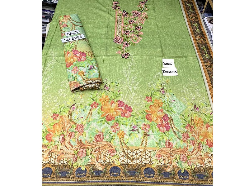 Unstitched Embroidered Dhanak Kurti