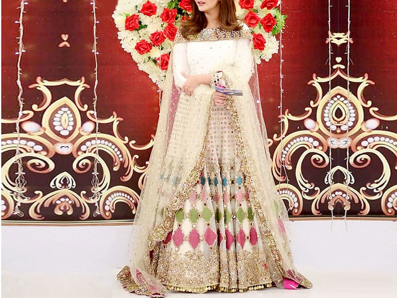 Mirror Work Heavy Embroidered Net Bridal Maxi Dress Price in Pakistan