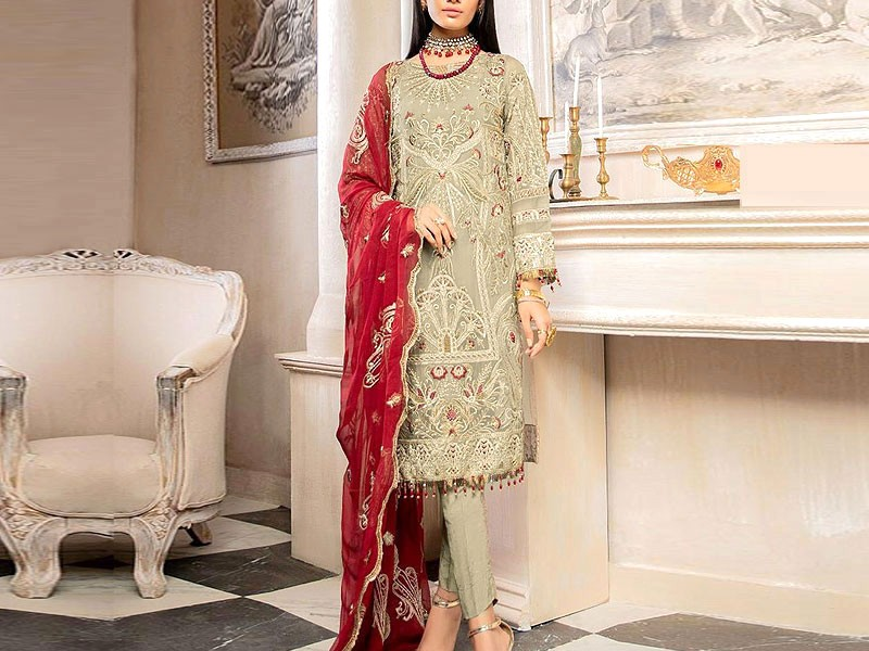 Embroidered Grey Chiffon Dress with Red Chiffon Dupatta