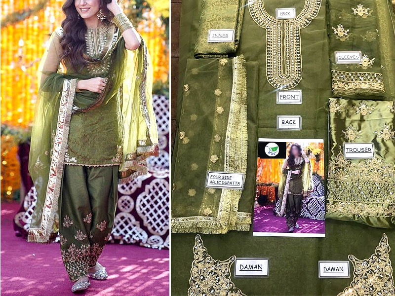 Mirror Work Embroidered Organza Green Mehndi Dress