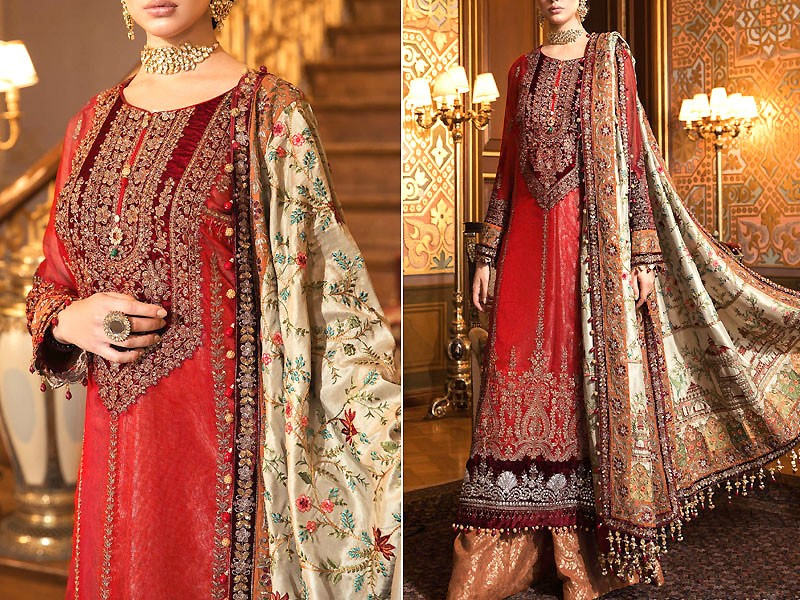 Handwork Heavy Embroidered Silk Chiffon Dress with Masoori Dupatta Price in Pakistan