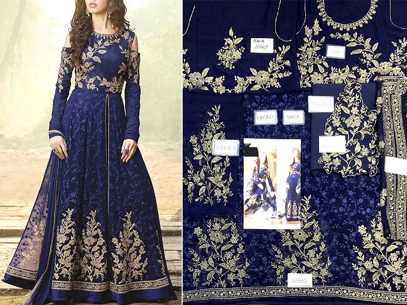 Indian Embroidered Bamber Chiffon Maxi Dress 2021 with 4-Side Embroidered Dupatta