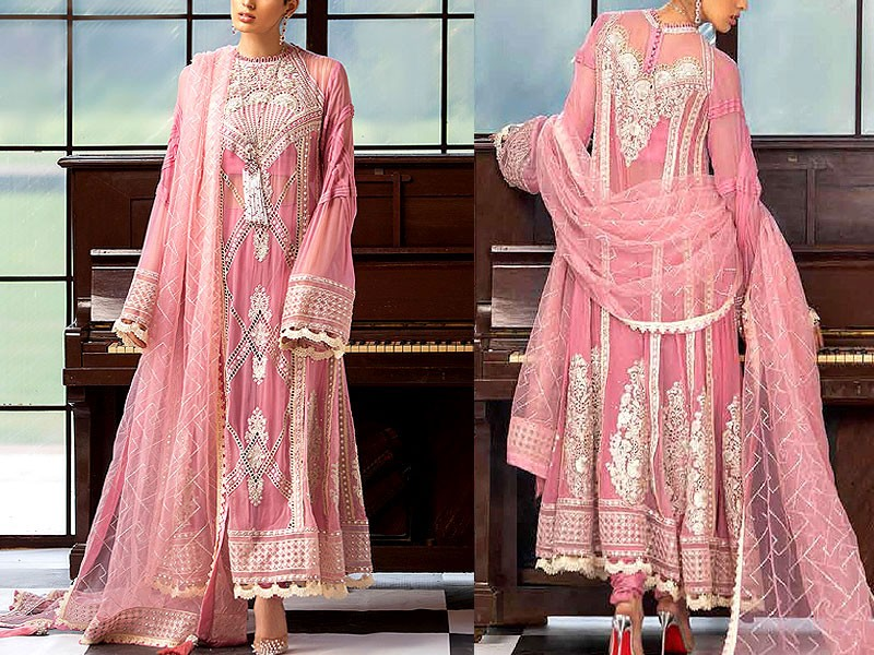 Handwork Heavy Embroidered Pink Chiffon Party Dress with Silk Trouser