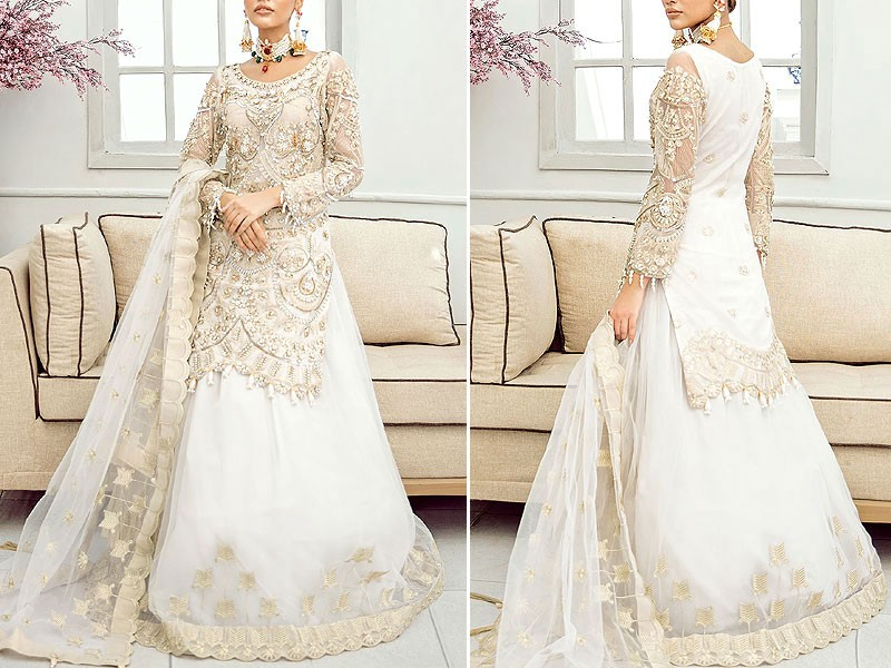 Heavy Embroidered Organza Bridal Lehenga Dress 2021 with Net Dupatta