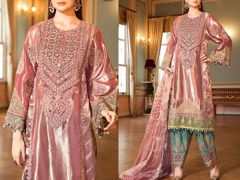 Heavy Embroidered Masoori Wedding Dress with 4-Side Embroidered Dupatta