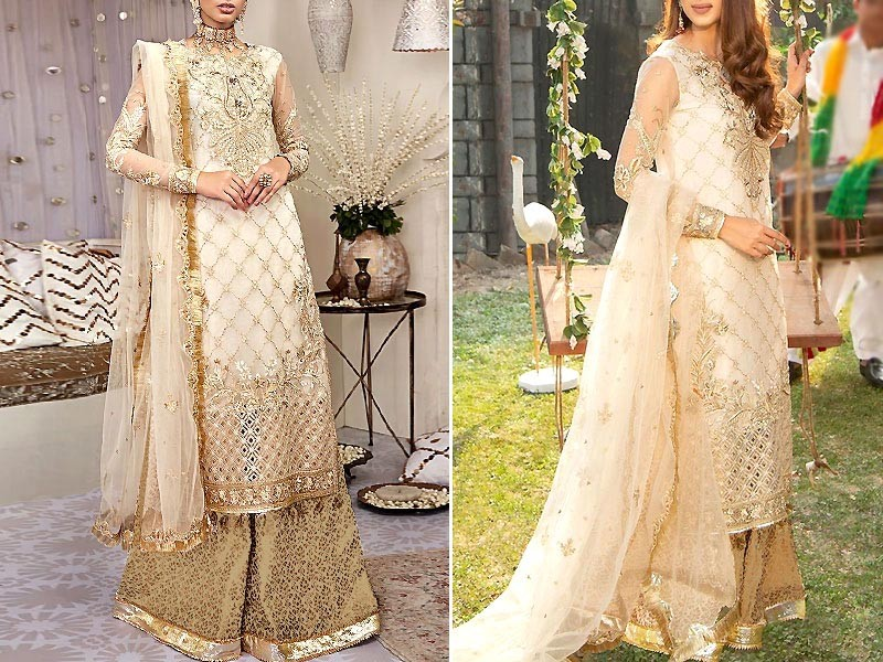 Heavy Embroidered Net Bridal Dress with 4-Side Aplic Net Dupatta Price in Pakistan