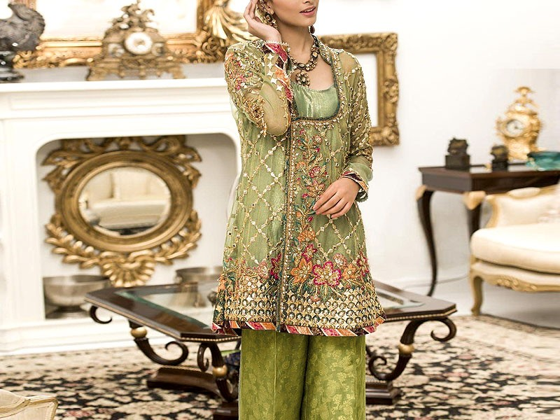 Mirror Work Heavy Embroidered Net Formal Wedding Dress Price in Pakistan