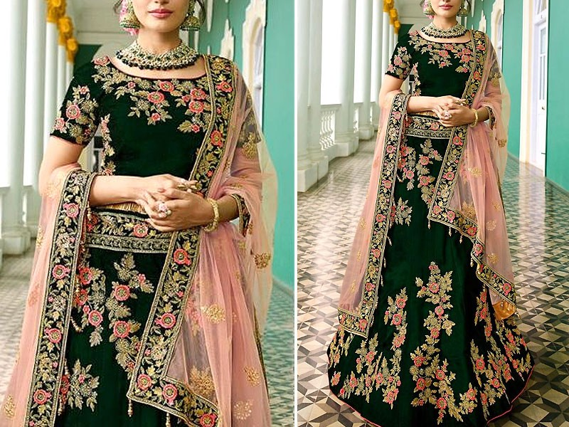 Indian Heavy Embroidered Green Chiffon Maxi Dress Price in Pakistan