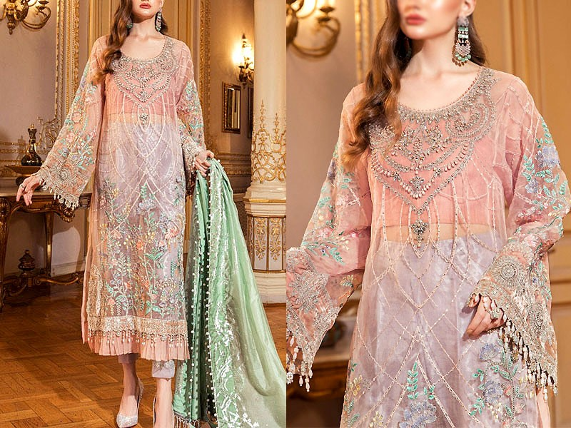 Heavy Embroidered Organza Wedding Dress with Jamawar Trouser Price in Pakistan