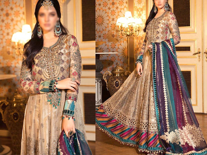 Heavy Embroidered Net Maxi Dress with Chiffon Dupatta Price in Pakistan