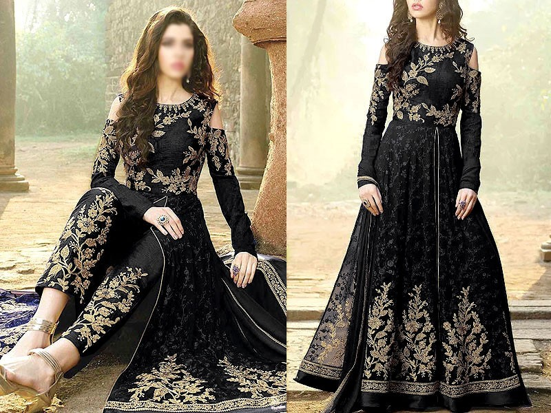 Indian Embroidered Bamber Chiffon Maxi Dress 2021 with 4-Side Embroidered Dupatta Price in Pakistan