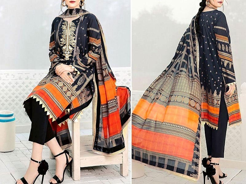 Embroidered Black Lawn Dress with Chiffon Dupatta Price in Pakistan