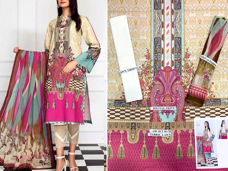 Digital Print Airjet Lawn Dress with Chiffon Dupatta
