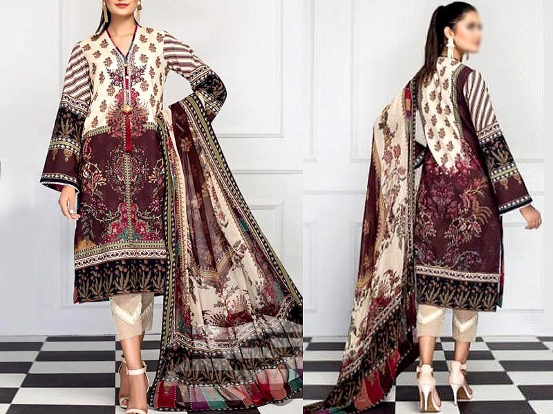 Digital Print Airjet Lawn Dress with Chiffon Dupatta Price in Pakistan