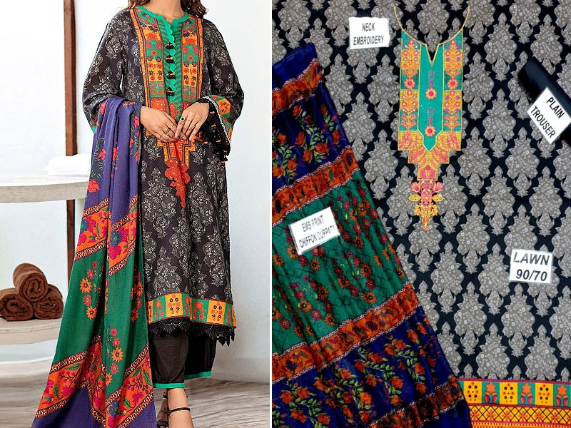 Embroidered Lawn Suit 2021 with Scroll Embroidered Chiffon Dupatta
