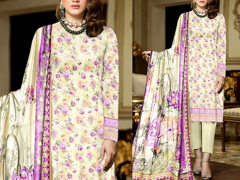 3-Piece Printed Suit Dress with Lawn Dupatta Price in Pakistan