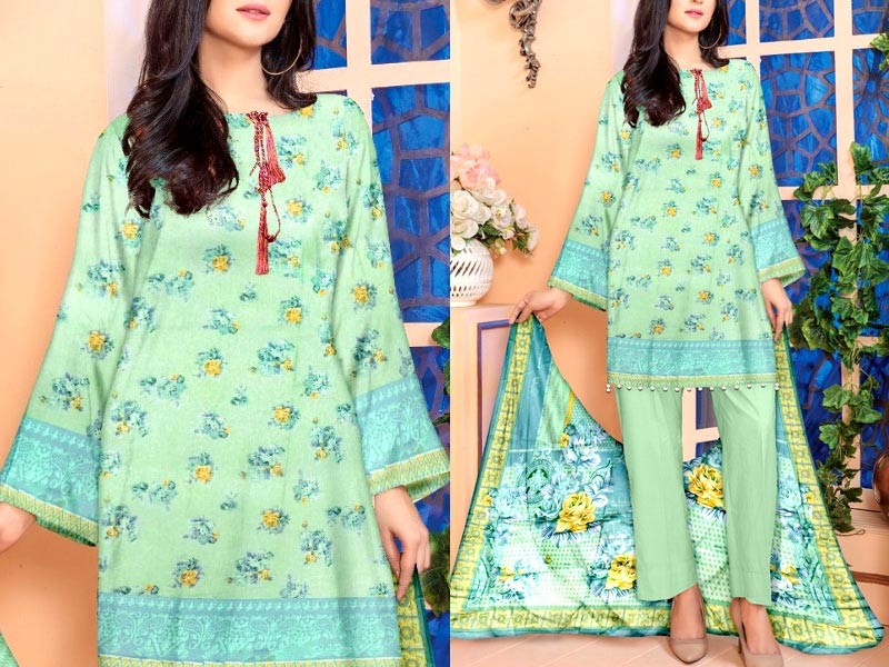 3-Piece Printed Lawn Suit with Lawn Dupatta Price in Pakistan