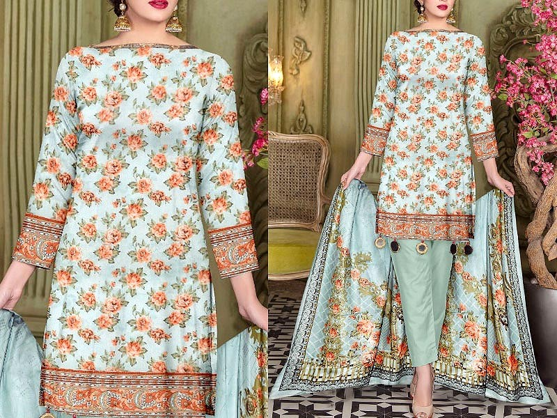 3-Piece Printed Lawn Dress with Lawn Dupatta Price in Pakistan