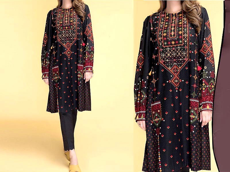 Traditional Style 2-Pcs Embroidered Black Lawn Dress 2021 Price in Pakistan
