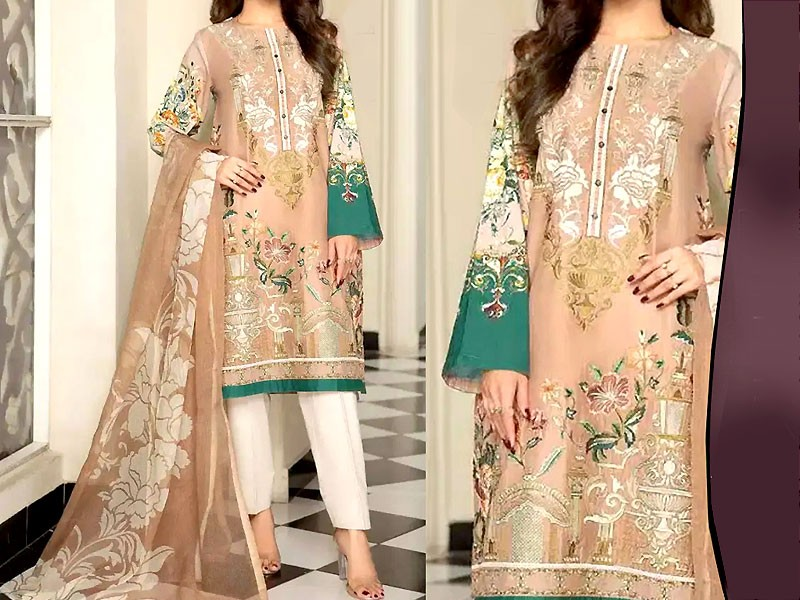 2-Pcs Heavy Embroidered Blue Lawn Dress 2021 with Embroidered Trouser Price in Pakistan