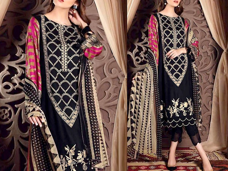 Embroidered Lawn Dress 2021 with Chiffon Dupatta