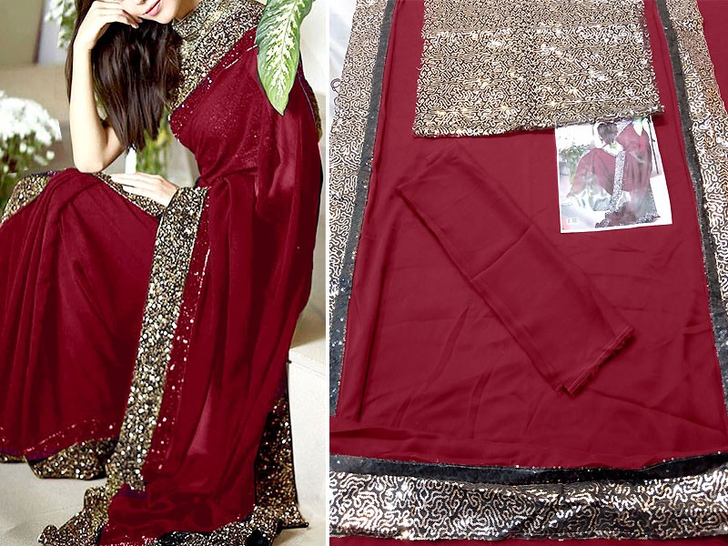 Sequins Work Embroidered Maroon Chiffon Saree